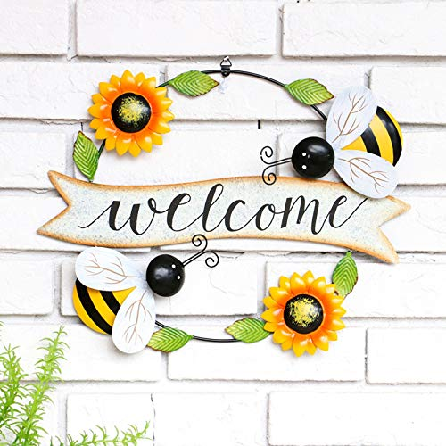 IJKLMNOP Hello Sign Rustic Sunflower Welcome Sign for Front Door Decor, Metal Flower Bee Beetle Art Wall Decoration, Hanging Spring Wreath Vintage Farmhouse Ornaments for Garden Wall Home Decor
