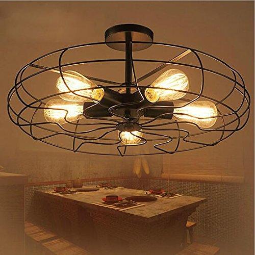 ZHGI Vintage Ventilatore industriale da soffitto antico luce creative Loft soggiorno lampada