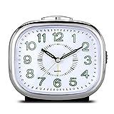 MUTANG Reloj Despertador pequeño, Reloj Despertador Junto a la Cama Que no Hace tictac, Reloj Despertador de Cuarzo de Viaje con repetición, fácil de configurar, Reloj Despertador Creativo Perezoso
