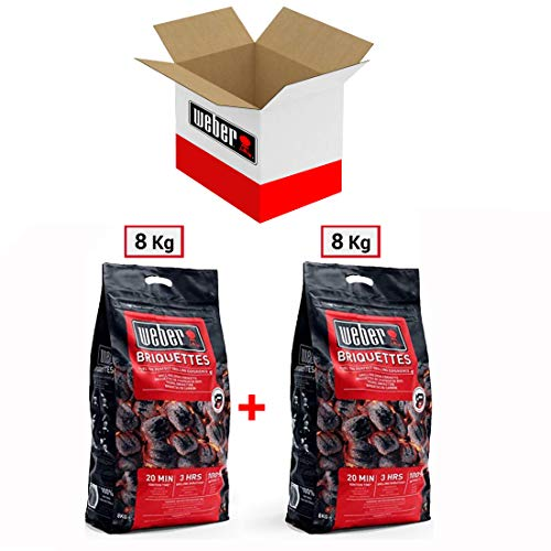 Sacco Bricchetti di Carbone per Barbecue Weber 8 kg - 2 Sacchetti