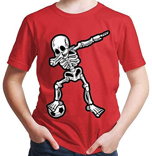 HARIZ Jungen T-Shirt Dab Skelett mit Fussball Dab Teenager Dance Weihnachten Plus Geschenkkarten Rot 140/9-11 Jahre