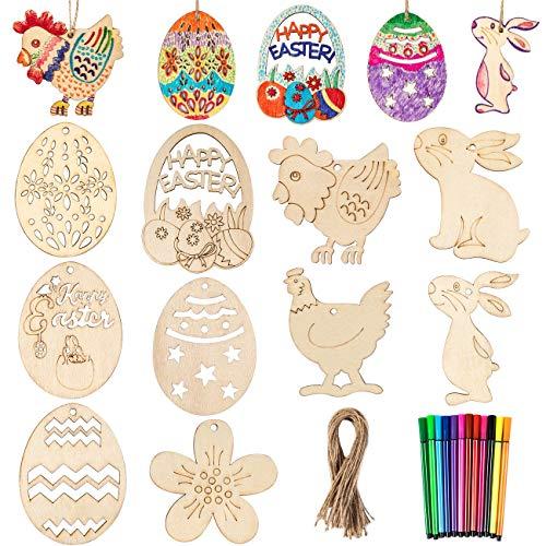 Adornos de Pascua sin terminar, Gyvazla 60 piezas manualidades de madera de...