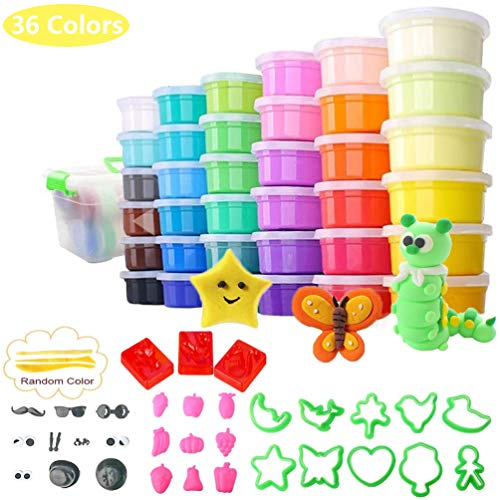 36 Colors Modeling Clay Kit, Ultra Light Magic Clay Air Dry Clay with Modeling Tools Accessories, Manual and Storage Box Best DIY Crafts Gift for Kids Age 3-12 Year Old