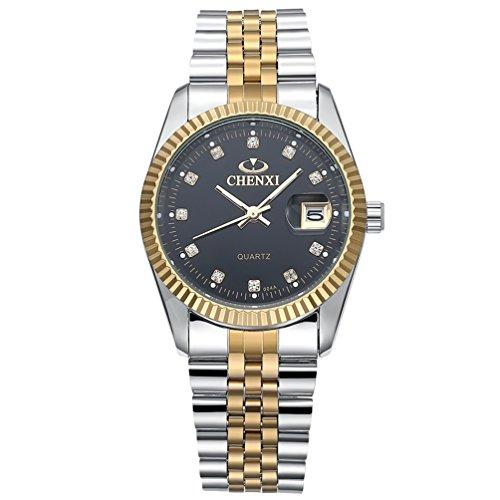 Hombres de la única banda de acero inoxidable reloj de pulsera clásico redondo oro plata dos tono diamante pavimentada Business Casual vestido de cuarzo analógico Sport Relojes resistente al agua