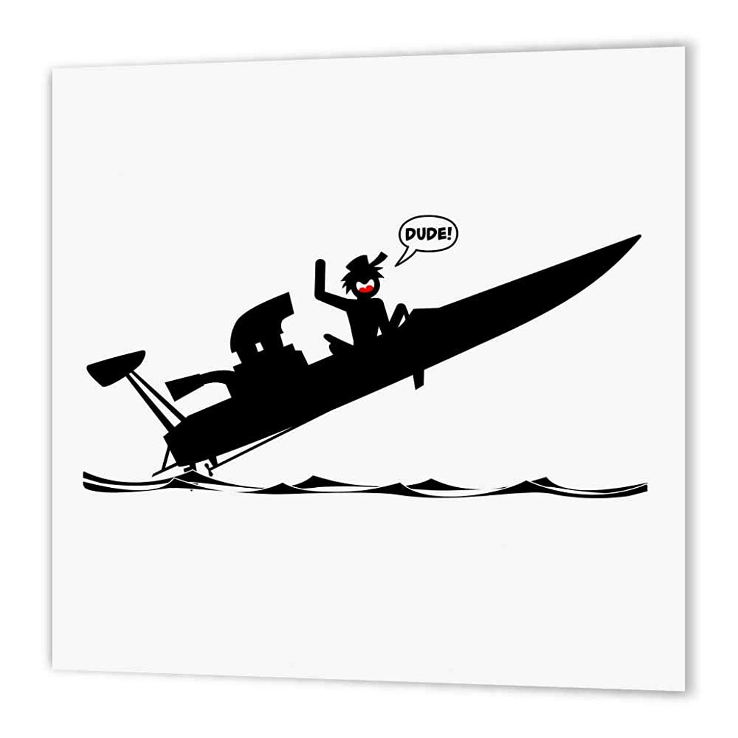 3dRose ht_180562_1 An Image of a Stickman Getting Air in a Drag Boat, Dude Word Balloon-Iron on Heat Transfer Paper for White Material, 8 by 8-Inch bcauybw831370