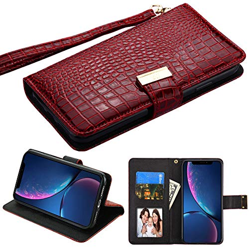 Case+Tempered_Glass+Stylus, PU Leather Purse/Clutch/Wallet Fits Apple iPhone XR / 9 MYBAT Burgundy/Dark Red Crocodile-Embossed