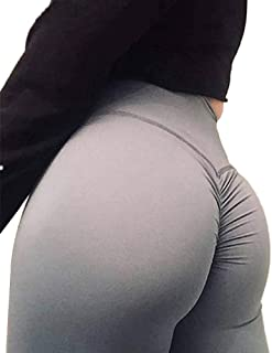 Fold Yoga Pants, Women High Waist Tight Fitness Leggings, Gym Women Running Workout Sport Leggings Solid Standard Tights