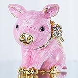 zhongzhichengcheng Statuen Und Skulpturen Handgefertigte Zinn Schönes Schweinchen Schmuckkästchen Aufklappbarer Schmuckhalter Tierfiguren Für Wohnkultur Sammlergeschenk (Rosa)