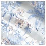 NAKAN Tela de Encaje Azul Tela Floral Bordada Flor Material de Malla De Tul para Manualidades De Bricolaje De Decoración De Fiesta de Vestido De Boda Nupcial, 150cm Ancho(Size:0.5m)