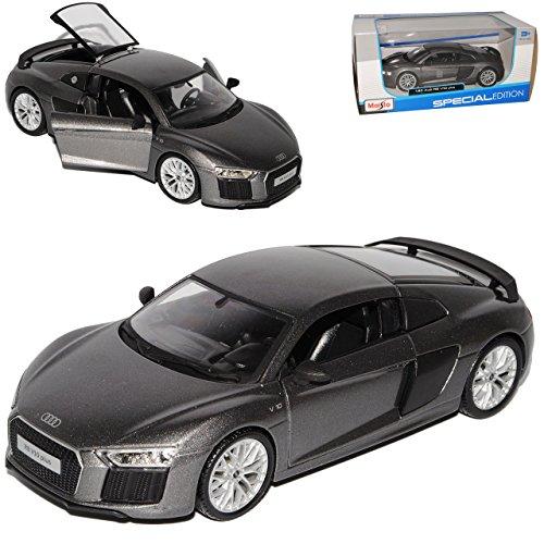 Maisto A-U-D-I R8 Coupe Silber Grau neuestes Modell 2. Generation ab 2015 1/24 Modell Auto mit individiuellem Wunschkennzeichen