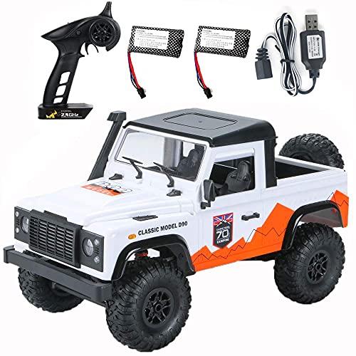 ykw 2.4G Radio Control RC Cars Juguetes RTR Crawler Off-Road Buggy para Modelo de vehículo Coche Blanco 2 Baterías Regalo Creativo