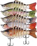 OROOTL Juego de 5 señuelos de pesca, cebo artificial para pesca de peces depredadores, con 2 anzuelos para agua salada, para trucha, lucio, perca,...
