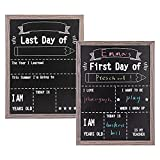 VUSIGN First and Last Day of School Reusable Chalkboard Sign, 12' x 16' Hangable Wood Framed Chalkboard, Back to School Photo Prop Board Double Sided