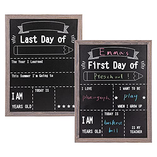 """VUSIGN First and Last Day of School Reusable Chalkboard Sign, 12"""" x 16"""" Hangable Wood Framed Chalkboard, Back to School Photo Prop Board Double Sided"""