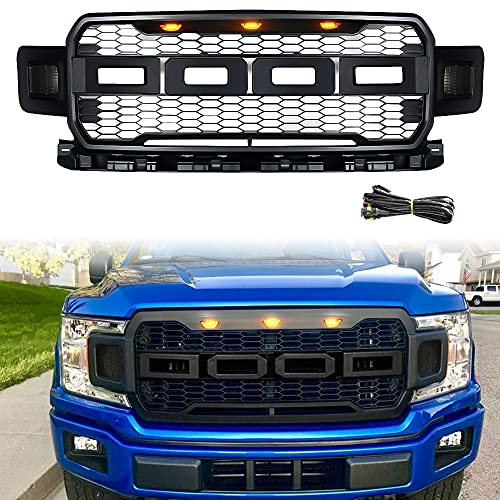 Modified Front Grille For F150,Fit For Grill F-150 2018 2019 2020,Including XL, XLT,With 3 Amber LED Lights,Matte Black