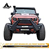 Front Bumper for 2007-2018 Jeep Wrangler JK/JKU with Winch Plates and LED Lights Assembly, NIXON OFFROAD Jeep Wrangler Front Bumper Replacement Accessories