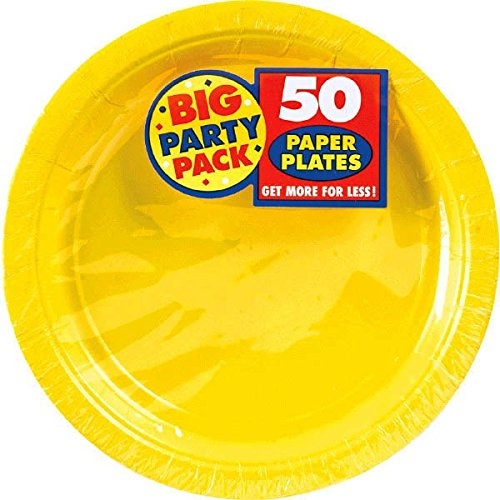 Amscan 640013.09 Yellow Sunshine Big Party Pack Paper Plates, 7