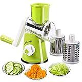 Favia Trancheuse à main rotative pour légumes, fromage - broyeur de légumes, hachoir à 3 râpes rondes en acier inoxydable sans BPA(Vert)