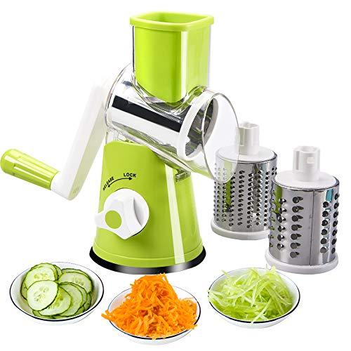 FAVIA Hand-Rotationsschneider für Gemüse, Käsereibe, Zerkleinerer, Gemüse, Mandoline, Zerkleinerer, 3 Edelstahl-Rundreibe, Spiralschneider, BPA-frei(Grün)