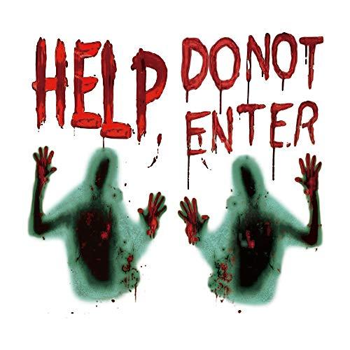 Wishstar Halloween Sticker Help Blutige Aufkleber, Horror Deko Realistisch Sticker Geist Silhouette für Halloweenparty Fenster Badewanne Spiegel Spukhaus Dekoration