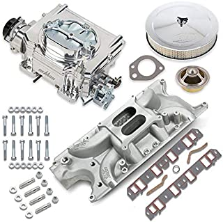 NEW HOLLEY STREET DEMON CARBURETOR & WEIAND STREET WARRIOR INTAKE MANIFOLD COMBO,625 CFM,4 BBL,GASOLINE,VACUUM SECONDARIES,ELECTRIC CHOKE,COMPATIBLE WITH SMALL BLOCK FORD