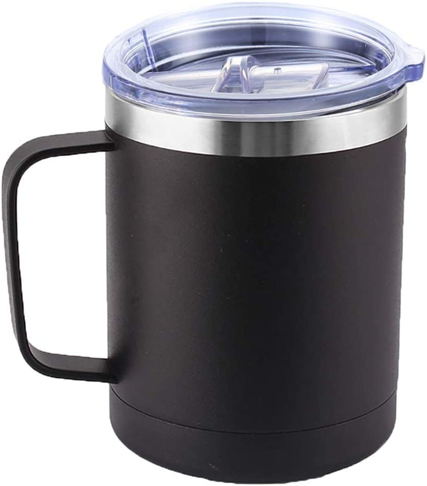 DELERKE Vaso térmico de doble pared   Termo de café para llevar de acero inoxidable 18/8 con tapa y asa, taza de café para llevar con asa grande de 400 ml