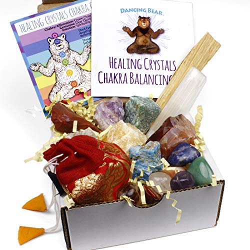 Dancing Bear Healing Crystals Chakra Balance Kit (16 Pc Starter Set), 7 Tumbled Stones, 7 Rough Stones, Selenite Wand &Amp; Palo Santo Smudge Stick For Good Energy, Chart And Guide With Metaphysical Info