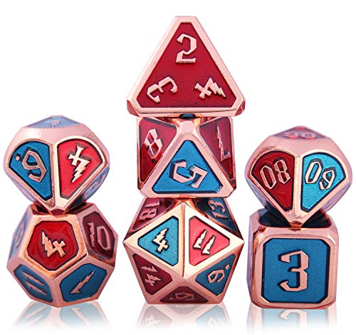 Schleuder Dadi Set D&D di Metallo Poliedrico DND, 7 Dice Set Gioco di Ruolo, per Rpg Dungeons & Dragons D&D Insegnamento della Matematica (Lightning - Copper Blue & Red)