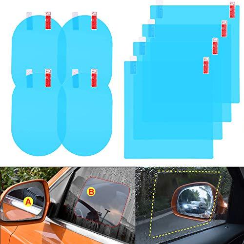 Mingco 8 stuks achteruitkijkspiegelfolie, regenfolie auto, achteruitkijkspiegel zijruiten, 360° verstelbare visie HD voor autospiegel en zijruiten.