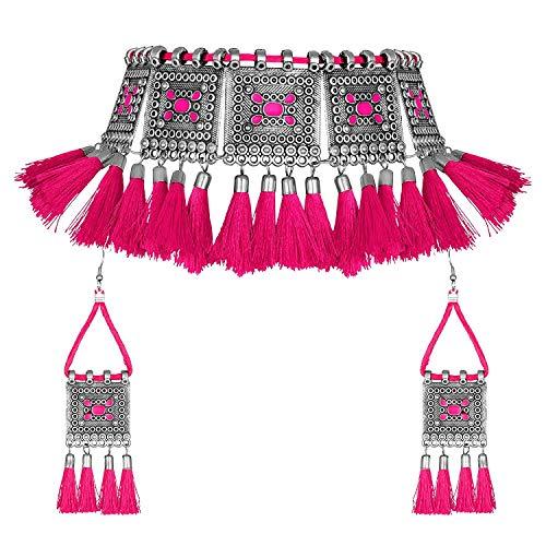 Indisches Silber oxidiert ethnisches Bollywood Fashion Handmade Tribal Afghani Gypsy Statement Thread Tassel Choker Halskette Pink
