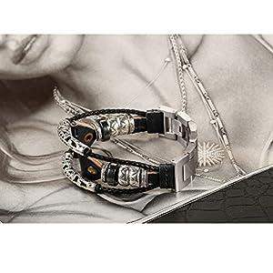 bayite Leather Bands Compatible Fitbit Versa/Versa 2, Handmade Replacement Bracelet Straps Women Men, Black Band