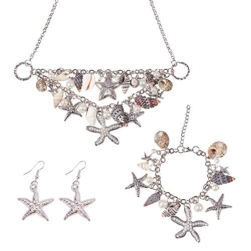 PH PandaHall 3 IN 1 Fashion Sea Shell Starfish Faux Pearl Collar Bib Statement Chunky Mermaid Tail Necklace Bracelet and Earrings Mermaid Costume Jewelry for Women Set in Gift Box (Platinum)