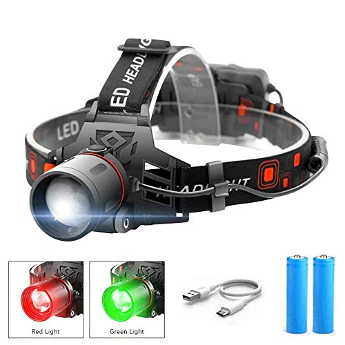 whbage Lampe Frontale LED Headlamp 3-Mode Zoomable Headlight Battery Head Torch Green Fishing White Light Camping Red Hunting Flashlight
