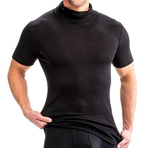 HERMKO 16855 2er Pack Herren Kurzarm Shirt mit Rollkragen, Farbe:schwarz, Größe:D 9 = EU 3XL