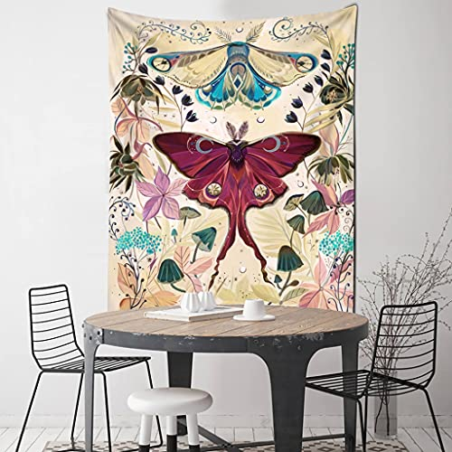 QWERY tapizManta de Tapiz con patrón de Mariposa y Flor de Tarot Simple, brujería psicodélica, Colgante de Pared, decoración Gitana para el Dormitorio del hogar
