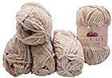 5 x 100 Gramm Himalaya Velvet Micro-Polyester Strickwolle , Babywolle samtig 500 Gramm Wolle (beige 90042)
