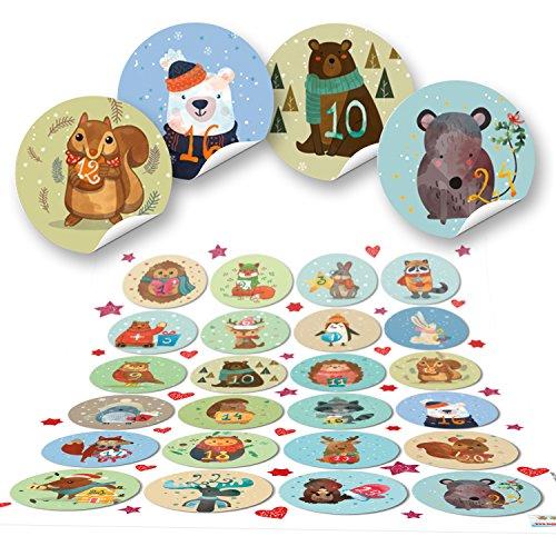 1 bis 24 Adventskalender Zahlen Nummern zum Basteln 4 cm rund BUNT WINTERTIERE für Kinder zum Weihnachts-Kalender selbermachen selbstklebende Etiketten Weihnachten