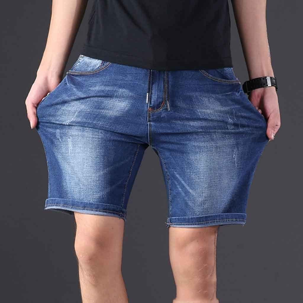 CFSNCM Extra Large Size Men's Denim Shorts Oversized Men's Elastic Waist Knee Length Summer Loose Shorts Men Plus Size 7XL (Size : XXXXXX-Large)