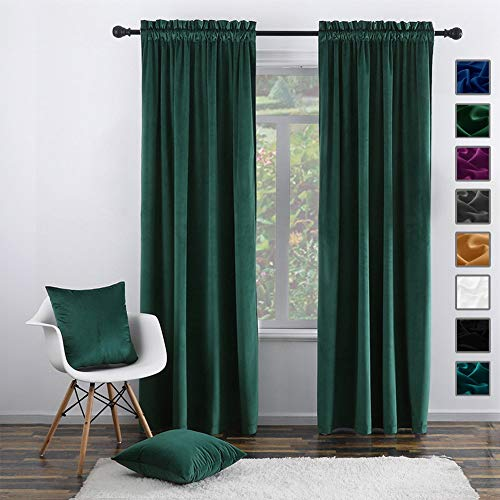 """Twin Six Super Soft Blackout Velvet Curtains with 2 Pillow Case,Thermal Insulated Solid Heavy Rod Pocket Window Drapes for Living Room (Green, 52""""x84"""",2 Panels)"""