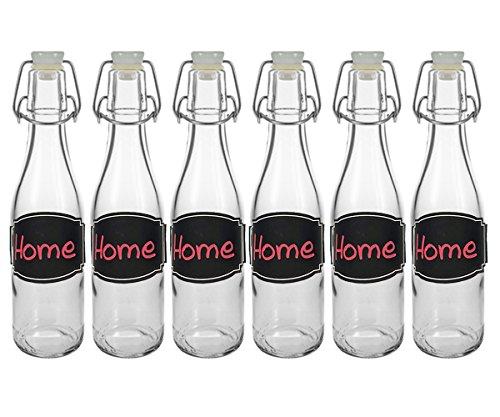 6/10 Set Bügelflaschen Bügelflasche Glasflaschen Bier | Füllmenge 330ml | Farbe Weiß | Tafel-Etiketten Kreidetafel Tafelfolie T C | mit Bügelverschluss Selbstbefüllen | Grappa Likörflaschen (10 Stück)