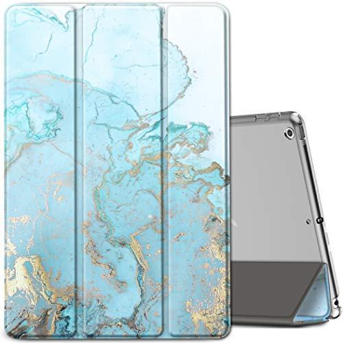 EasyAcc Funda compatible con iPad 8ª generación/iPad 10.2 2020 2019/iPad 7ª generación, ultra fina y ligera, translúcida cubierta trasera esmerilada triple soporte, encendido automático, mármol azul