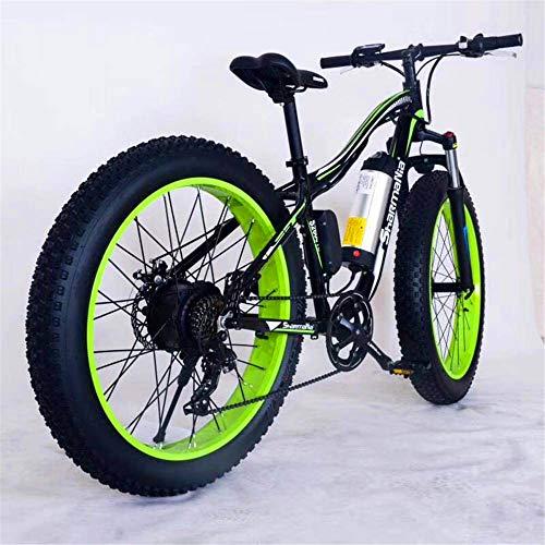 RDJM Bici electrica, 26' Montaña de Bicicleta eléctrica de 36V 350W 10.4Ah extraíble de Iones de Litio Fat Tire Bike Nieve de Deportes Ciclismo Viajes Tráfico (Color : Black Green)