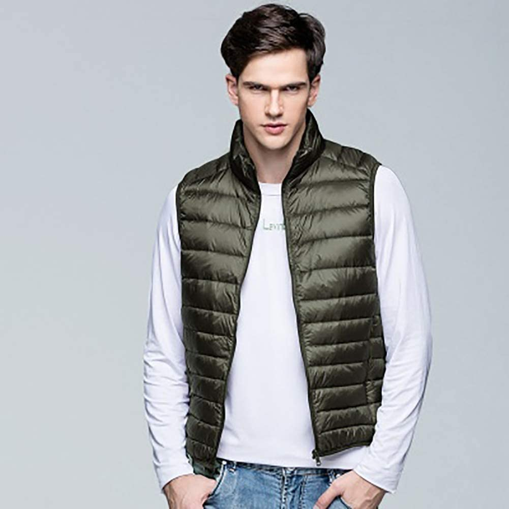 MIAOLEIE Ultra Lightweight Mens Gilet Warm Ultra Light Duck Down Vest Outdoor Gilets Jacket - Sleeveless,S