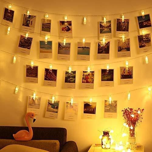 Clip Cadena de Luces LED, Adurei 40 LED Foto Clips 6M Plana Betri Batería Bildleuchten Pinzas LED Luces Decorativas de Hadas...