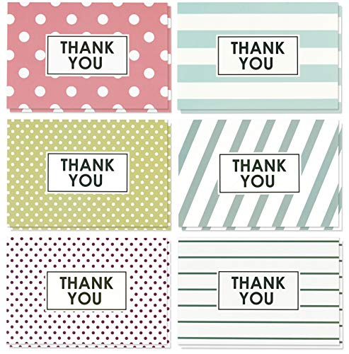 Blank Thank You Cards and Envelopes, 6 Colorful Designs (4 x 6 In, 48 Pack)