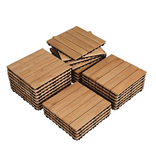 Topeakmart 27PCS Wood Floor Tiles Outdoor Flooring for Patio Garden Deck Poolside 12 x 12in