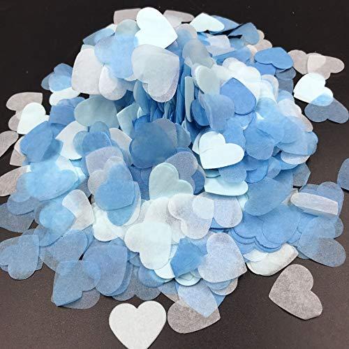 7500 Piezas Corazones de Confeti, Papel de Confeti de corazón Relleno de Globo Azul Mesa de Papel Confeti para Bodas Cumpleaños Fiesta de San Valentín Bautismo Decoración de Fiesta de bebé