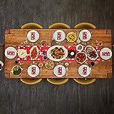 CINMOK Weihnachten Tischläufer Rot Tischdecke Rentier Tisch Läufer Weihnachts Tischband Winter Mitteldecke Weihnachtstischdecken Xmas Tischtuch für Esstisch Weihnachtsessen Kommunion Tischdeko - 3