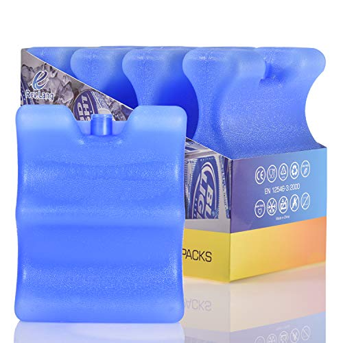 Cold Freezer Cool Ice Packs Double Sided Contoured Reusable Long Lasting for Breast Milk Baby Bottles Cool Storage Insulated Bags, Lunch Box Soda Beer Can Coolers Camping Beach Picnic (380g,Set of 4)