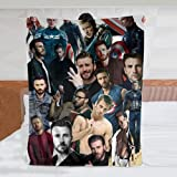 Fyess Chris Evans Blanket Ultra-Soft Collage Throw Blanket Home Decor Gift for Children/Adults 50in×40in